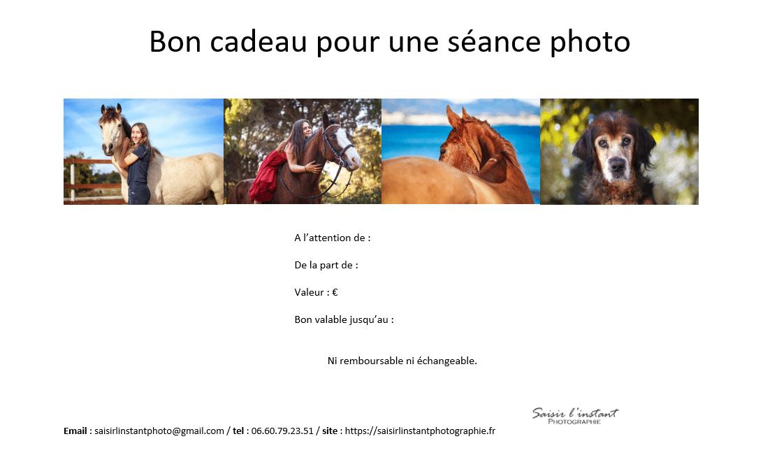 Bon cadeau photo seance animaliere